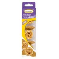 16 pz Rose di Marzapane oro con foglie