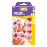 15 pz Cuori in zucchero rosa con motivo