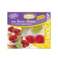 10 pz Rosa rossa con foglie