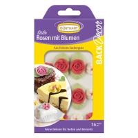 15 pz Rose rosse con fiori in zucchero