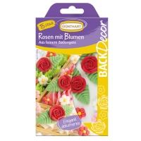 15 pz Rosa zucchero rossa,  con fiori
