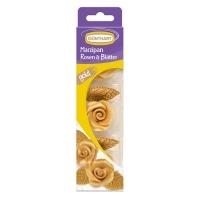 16 Rose di Marzapane oro con foglie
