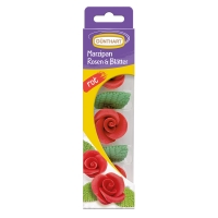 16 Rose rosse con foglie, in marzapane
