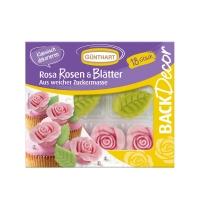 Rosa rosa con foglie