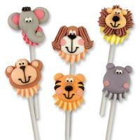 Teste di animali di zucchero, su bastoncino di plastica