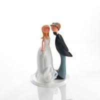 1 pz Sposi in resina con bouquet