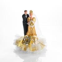 Decorazione sposi nozze d`oro in porcellana, base apribile