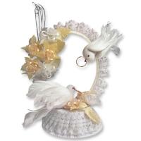 Alzata sposini con colombe, color champagne