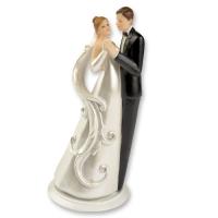 2 pz Coppia sposi in resina, su base