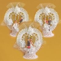 Decorazione sposi con corona tessutoa, 3 versioni diverse