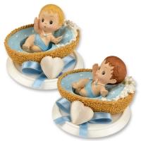 4 pz Neonato piccolo in resina blu, in cesta