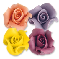 12 pz Rose grandi di marzapane  colori assortiti