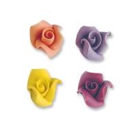 24 pz Rose piccole die marzapane  colori assortiti