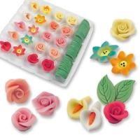 80 pz fiori e foglie in marzapane
