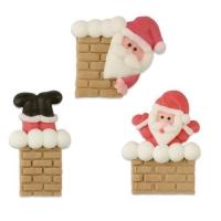 Babbo Natale-camino, zucchero, piatto, ass.