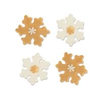 100 pz Fiocchi neve, zucchero adragante, oro/bianco