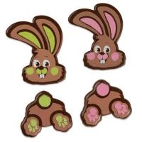 96 pz Parti coniglio, cioccolato fondente, assortiti