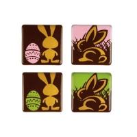 96 pz Quadrati Coniglio, cioccolato fondente, ass.