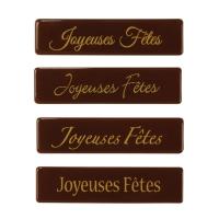 128 pz Placchetta  Joyeuses Fêtes , cioccolato fondente