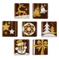 162 pz Quadratini, motivi natalizi, cioccolato fondente, ass.