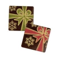 105 pz Quadratini, fiocco regalo, cioccolato fondente