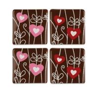 140 pz Cuori su quadrati, cioccolato fondente, assortiti