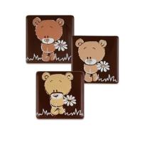 Orso su quadrato, cioccolato.fondente, assortito