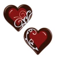 160 pz Schokoladen Herzen rot  dunkle Schokolade