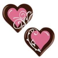 Cuore, cioccolato fondente, rosa