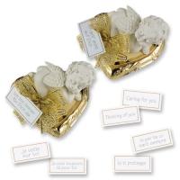 16 pz Angeli bianchi in resina su cuori dorati