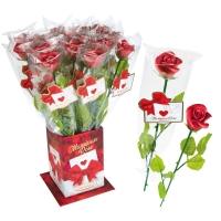 20 pz Rosa rossa  Elegance  di marzapane con stelo