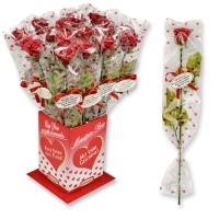 20 pz Rose di marzapane rosse con gambo