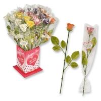 20 pz Rose di marzapane colorate con lettera