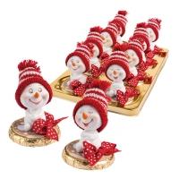 Pupazzo di neve in resina su tondo di cioccolato