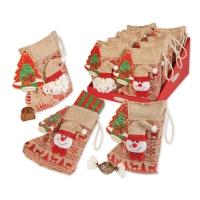 10 pz Babbo Natale, calza juta