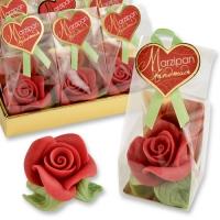 Rose rosse grandi in marzapane cenfezionati in tray