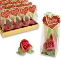 Rose rosse piccole in marzapane cenfezionati in tray