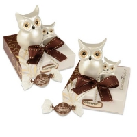 12 pz Gufi in porcellana su scatola, con praline