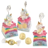 Elly Unicorno in resina con porta-messaggio,su scatola, con praline bianche (ripieno crema nougat)