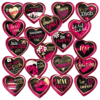 Cuori al cioccolato grandi rosa con diversi detti