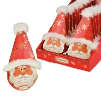 Testa di Babbo Natale con peluche su tondo cioccolato