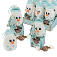 Pupazzo di neve in peluche su scatola con praline
