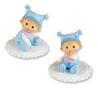 2 pz Bebè in resina, blu