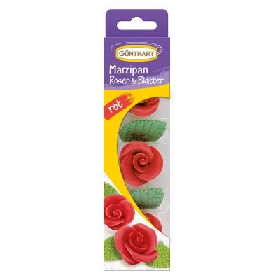 16 pz Rose rosse con foglie in marzapane