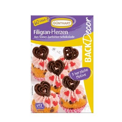 12 pz Coeurs filigranes, chocolat