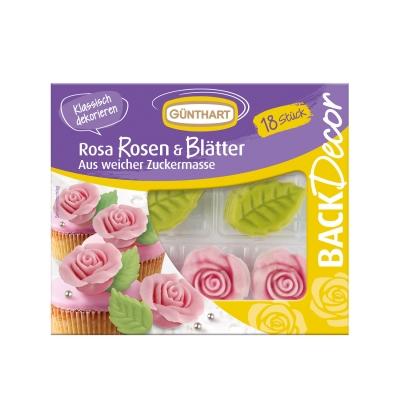 10 pz Rosa rosa con foglie