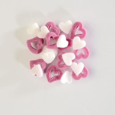 Decori da spargere cuori bianchi/rosa