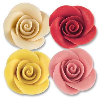 24 pz Rose di marzapane grandi, ass.