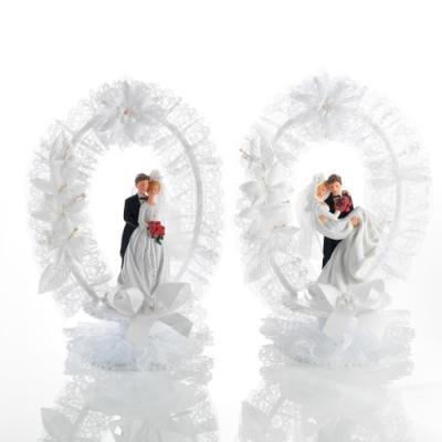 Decorazione sposi, in poly, base apribile, contiene 2 bebè