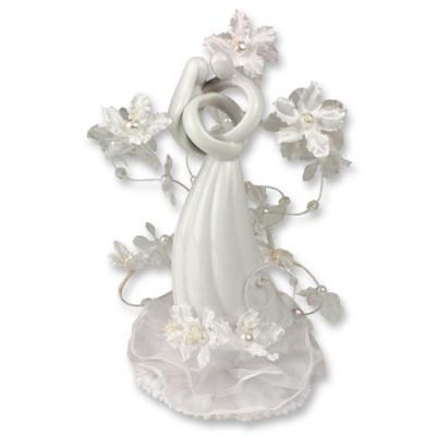 1 pz Decorazione di porcellana, coppia sposi con fiori,bianca